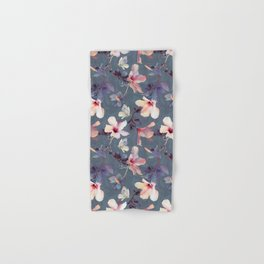 Butterflies and Hibiscus Flowers - a painted pattern Hand & Bath Towel