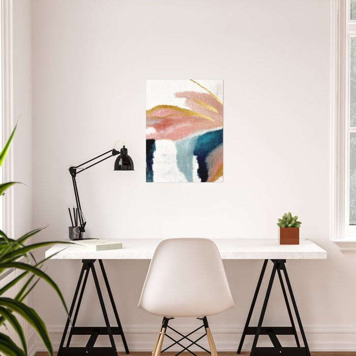 Exhale: a pretty, minimal, acrylic piece in pinks, blues, and gold Poster