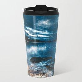 Magical Mountain Lake Teal Blue Brown Travel Mug