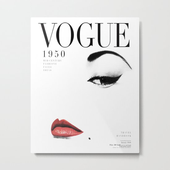 Fashion, Woman, Lips, Vogue, Model, Fashion art, Photo, Minimal Metal Print