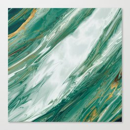 Emerald Jade Green Gold Accented Painted Marble Canvas Print