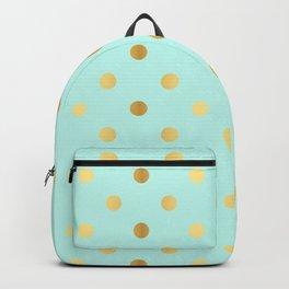 Gold foil glitter polka dots on teal Backpack