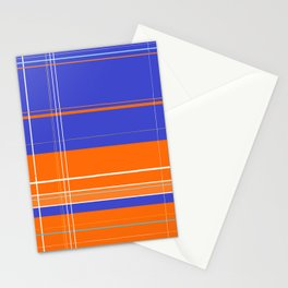 Orange and Blue Plaid Stationery Cards