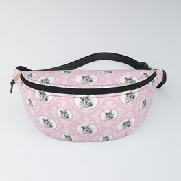 Alice in Wonderland | The Herald of the Court of Hearts | White Rabbit | Pink Damask Pattern | Fanny Pack