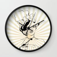 bon iver Wall Clocks featuring Bon Appetite by beerreeme
