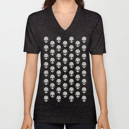 Glitter Grey Aliens Unisex V-Neck