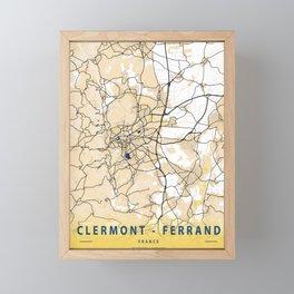 Clermont - Ferrand Yellow City Map Framed Mini Art Print