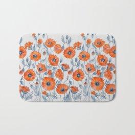 Poppies botanical art Bath Mat
