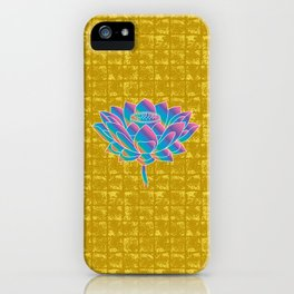 Lotus Holly Flower on Gold-leaf Screen iPhone Case