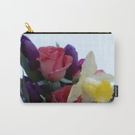Vibrant bouquet of flowers in the snow Carry-All Pouch