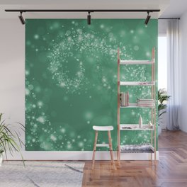 Elegant green white abstract starry Christmas pattern Wall Mural