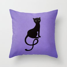 Gracious Evil Black Cat Throw Pillow