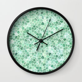 Muddled Puddles Pale Aqua Ocean Patchwork Wall Clock