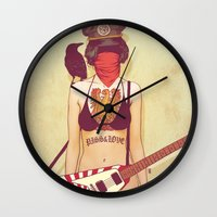 punk rock Wall Clocks featuring Punk Rock Raven by FlushDelay