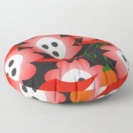 Red flowers and peppers Floor Pillow