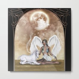 The fairy with wonderful, cute foal unicorn Metal Print