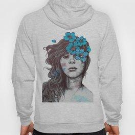 Softly Spoken Agony blue   flower girl pencil portrait Hoody