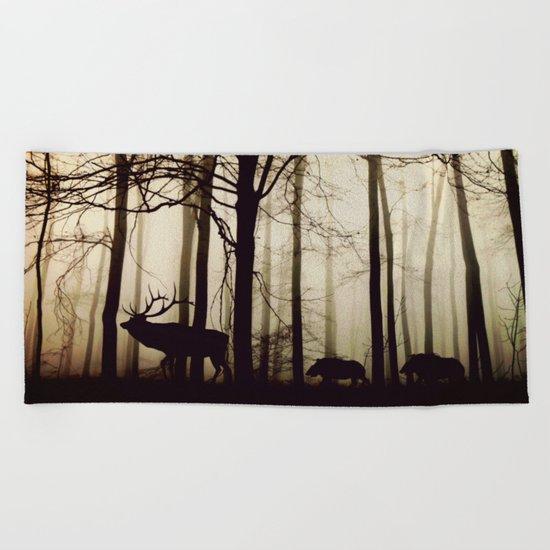 Forest night deer Beach Towel