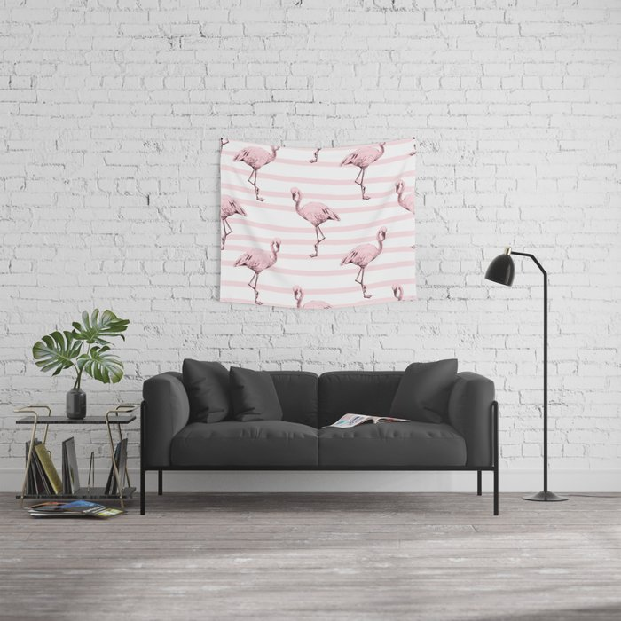 Flamingos on Drawn Stripes in Pink Flamingo Wall Tapestry