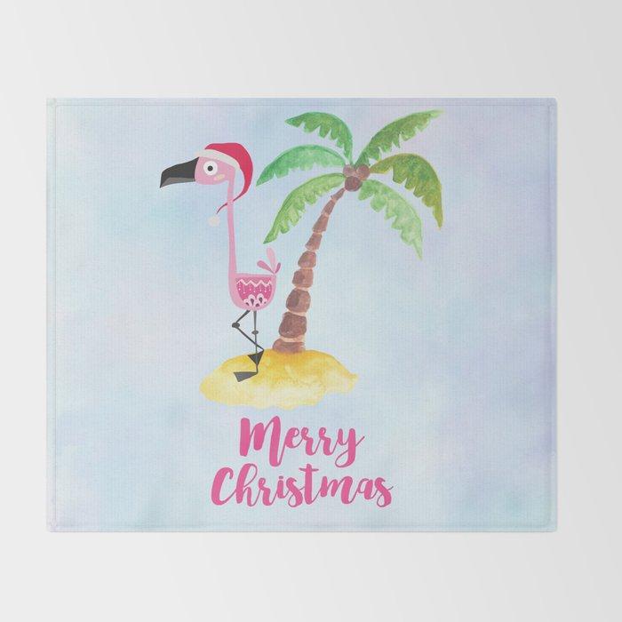 Pink Flamingo and Palm Tree Christmas Illustration Throw Blanket