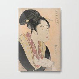 Vintage Japanese Ukiyo-e Woodblock Print Woman Portrait II Metal Print