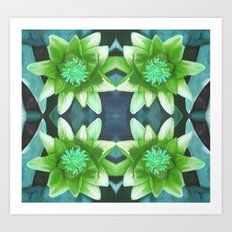Teal Green Bromeliad Pattern Art Print