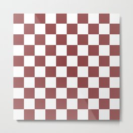 Checkered Pattern: Rustic Red Metal Print