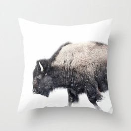 Bison in Yellowstone National Park Throw Pillow