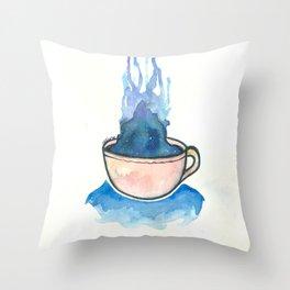 Space, tea, ocean Throw Pillow