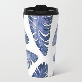 Tropical Banana Leaves Blue #society6 #buyart Travel Mug