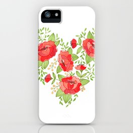 Rose Heart watercolor iPhone Case