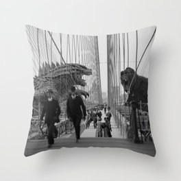 Old Time Godzilla vs. King Kong Throw Pillow