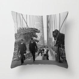 Old Time Godzilla vs. King Kong Throw Pillow