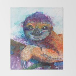 Sloth Mixed Media on Yupo Throw Blanket
