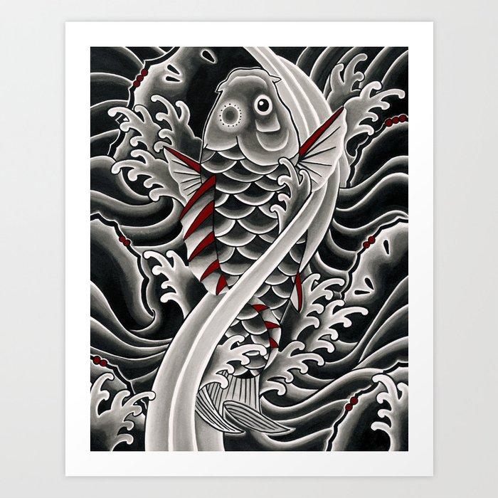 Japanese tattoo style koi art print by sebastianorth for Japanese koi art prints