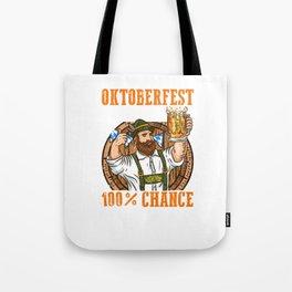 Oktoberfest Vorschau 100% Chance auf Bier l Bayern Wiesn Maß print Tote Bag