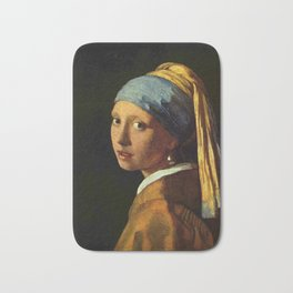 Girl with a Pearl Earring old painting Bath Mat