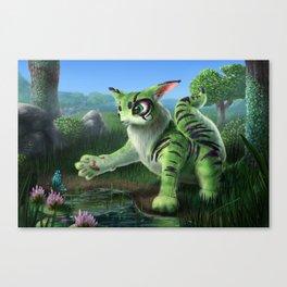 Fluffy Green Cat-Like Creature Canvas Print