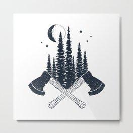 Axes. Double Exposure Metal Print