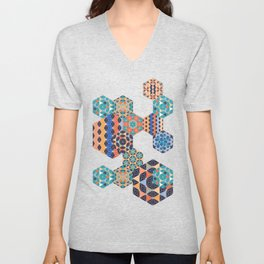 Hexagons Tiles (Colorful) Unisex V-Neck
