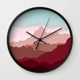 Red Mountain Range Wall Clock
