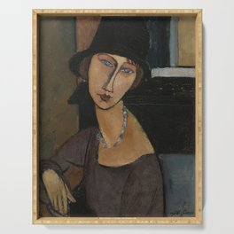 Amedeo Modigliani Jeanne Hebuterne Au Chapeau 1917 Serving Tray