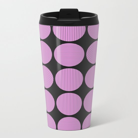 Pastel Pink Geometry (Abstract design in pink and charcoal) Metal Travel Mug