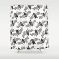 bees Shower Curtains featuring bees by Huntleigh