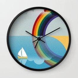Rainbow by the Sea Wall Clock