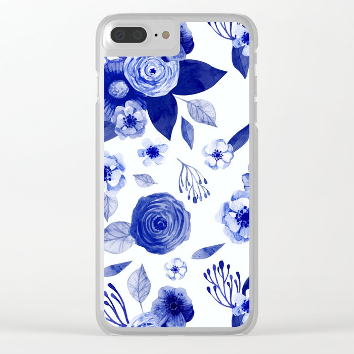 Flowers Print Clear iPhone Case