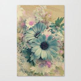 Vintage Pastel Blue Daisies Canvas Print
