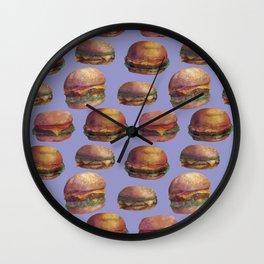 purple burger Wall Clock