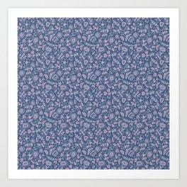 Scandinavian summer pink flowers pattern Art Print
