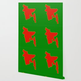 Map of Bangladesh with in red and green flag colors Wallpaper